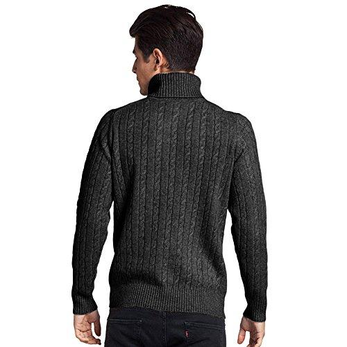 Parisbonbon Men's 100% Cashmere Turtleneck Sweater Color Dark Gray Size L by Parisbonbon (Image #2)