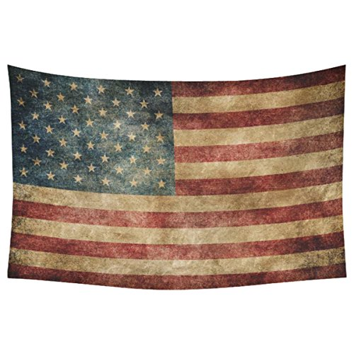 Hanging American Flag (InterestPrint Stars and Stripes USA Flag Wall Art Home Decor, Vintage Retro American Flag Background Bule Red Tapestry Wall Hanging Art Sets 60 X 40 Inches)