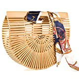 LibbyPet Bamboo Bags for Women Handmade Bamboo Handbag Summer Beach Tote Bag (Bamboo Small)