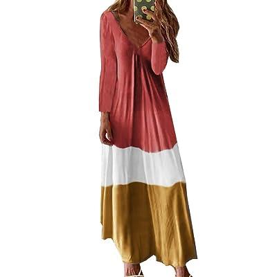 Vestidos Largos Talla Grande para Mujer Tie-Dye Gradient Cuello en V Manga Larga hasta el Tobillo Vestido Informal Playa Sundress Boho S-3XL: Ropa y accesorios