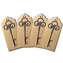 50 PCS Key Bottle Openers with 50 PCS Escort Tag Cards,Wedding Party Favors, YuQi Craft with Kraft Box Decoration Rustic Decoration Gifts for Guest(E)