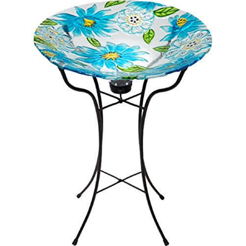 Round Glass Bird Bath Spring Blue flowers Deco w/ Solar Powered Led Light - Foldable, Weather-Resistant - 18.9'' Dia Basin x 25.59'' H Stand by Garden Delight