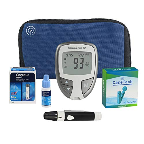 All-Inclusive Blood Glucose Monitoring Starter Kit | Diabetes Testing Pack with Glucose Meter, Test Strips, Control Solution, Lancets, Lancing Device, Carrying Case | Premium Blood Sugar Testing (50)