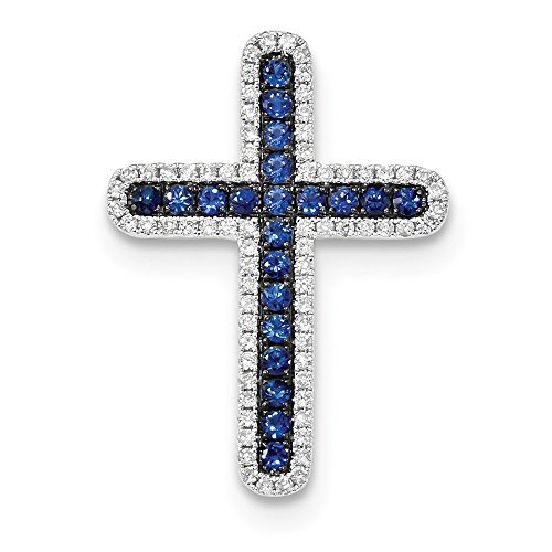 14k White Gold Diamond And Sapphire Cross Slide Pendant from Roy Rose Jewelry