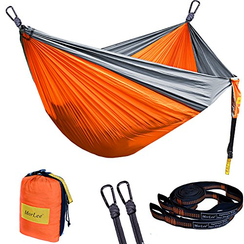 MorLee Single&Double Camping Hammock with Tree Straps,Max 500 lbs Capacity,Portable Parachute NylonHammock for Outdoor Backpacking,Garden,Beach,Hiking,Travel (Orange/grey, 78''Wx118''L) by MorLee