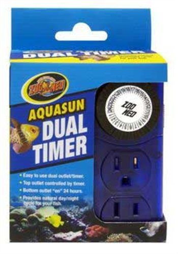 Zoo Med AquaSun Dual Timer Custom 2 Outlet Timer Day/Night T