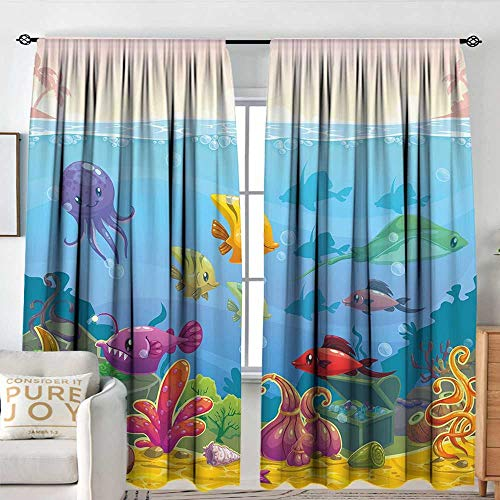 Petpany Window Curtains Aquarium,Funny Cartoon Style Underwater Scenery with Various Animals and Treasure Chest,Multicolor,for Room Darkening Panels for Living Room, Bedroom 84