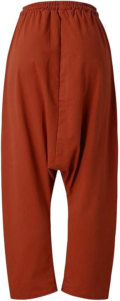 Honestyi Vintage Pantalons Femme en Cotton Mousseline Pants Couleur Unie D/écontract/ée Trousers Cordon de Serrage Poches Bloomers Ample L/âche Pantalon Sarouel Yoga