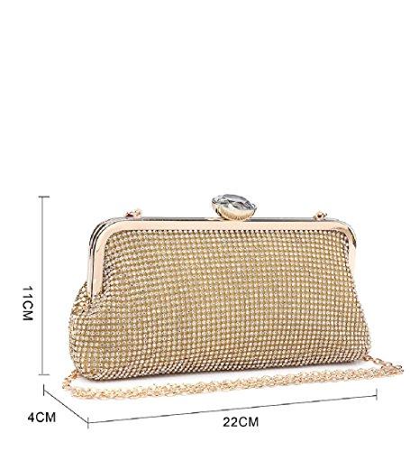 Handbag Party Ladies Clasp Clutch Diamante Bag Purse Women's Diamante Gold ME68007 EEFw8qU