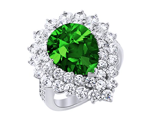 - AFFY Simulated Emerald Tear Drop Cluster Ring in 14k White Gold Over Sterling Silver (6.56 Cttw)