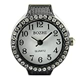 Black Womens Crystal Quartz Finger Ring Watch with Gift Box