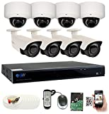 GW Security 8CH Plug & Play 5MP DVR 1920p CCTV Security System, (4) Bullet & (4) Dome 5-Megapixel (2592TVL) Weatherproof 2.8~12mm Varifocal Home Surveillance Camera System 2TB HDD, QR-Code Easy Setup