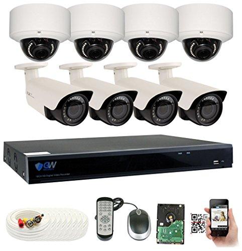 GW Security 8CH Plug & Play 5MP DVR 1920p CCTV Security System, (4) Bullet & (4) Dome 5-Megapixel (2592TVL) Weatherproof 2.8~12mm Varifocal Home Surveillance Camera System 2TB HDD, QR-Code Easy Setup