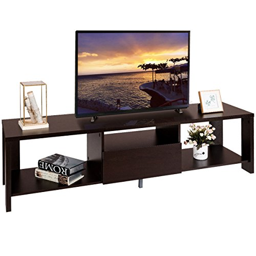 New Entertainment Center w/ Drawer and Display Shelf TV Stand Media Console (Java Chrome Wall)