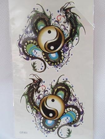 Para hombre Boys Ying Yang dragón chino serpiente Tatuajes ...