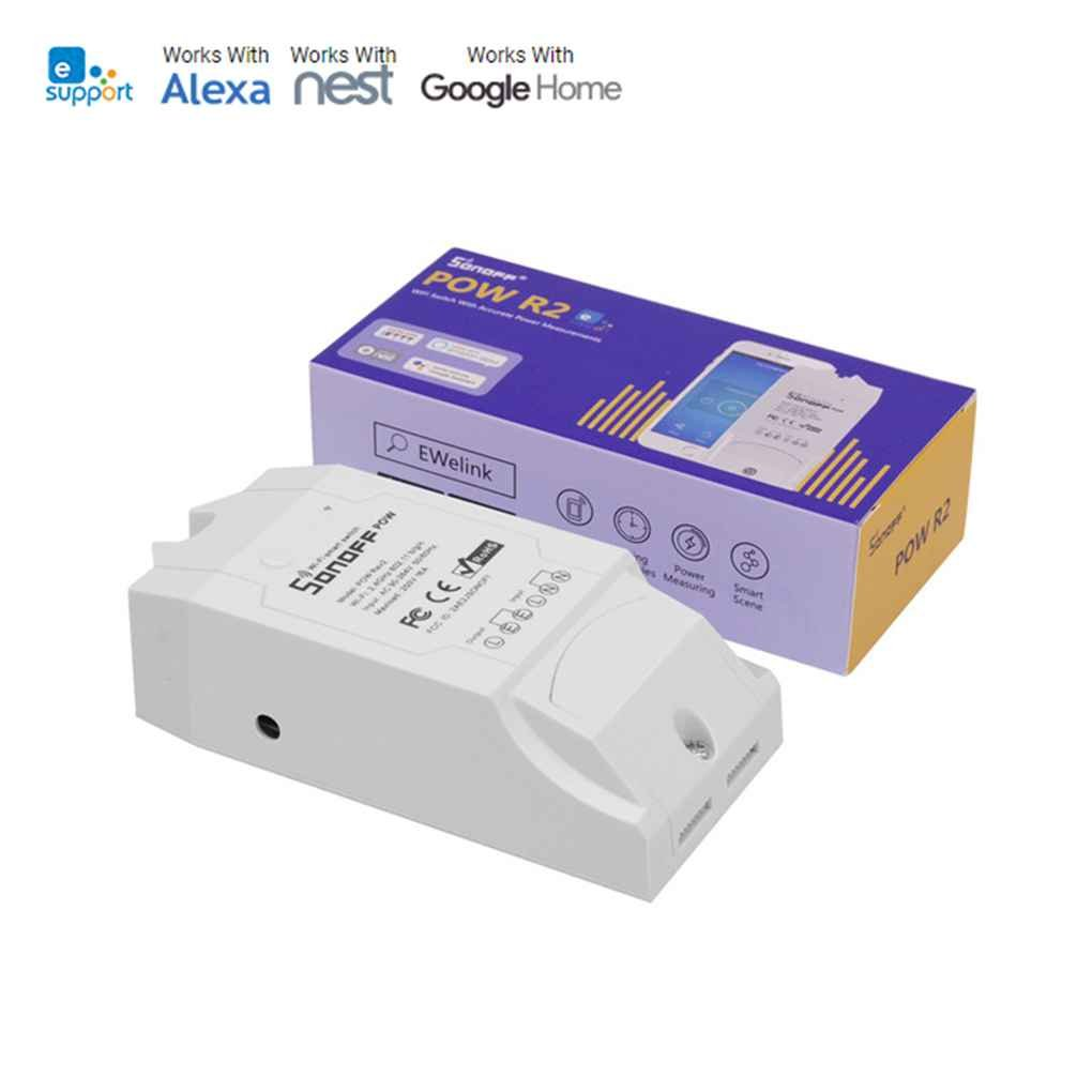 LUFA Sonoff Pow R2 Té lé commande Interrupteur Smart WiFi Moniteur d'alimentation Protection contre les surcharges Tableau de commande vocale minuterie AMZfish74796