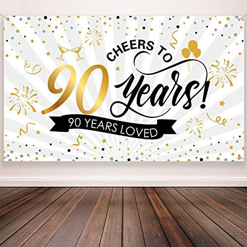 Cheers to 90 Years Photo Booth Backdrop/Banner