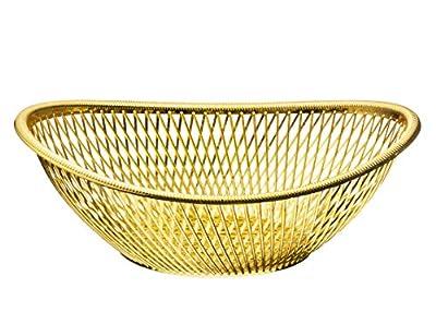 Impressive Creations Reusable Decorative Serving Basket – Plastic Fruit Basket with Elegant Gold Finish – Functional and Modern Weaved Design