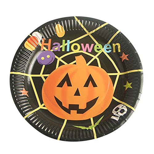 MOKO-PP 10Pcs Halloween Paper Plates Disposable Paper Dishes Halloween Party Supplies -