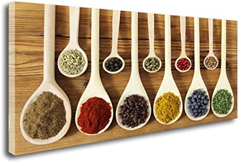 DZL Art K70275 kitchen decor Colorful Spices In Wooden Spoons beautiful kitchen Wall Art Painting Canvas Prints Ready to Hang