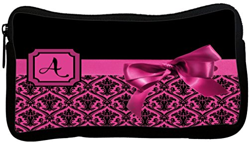 Rikki Knight Letter A Pink Monogram Damask Bow Neoprene Pencil Case (dky-Neo-pc41790)