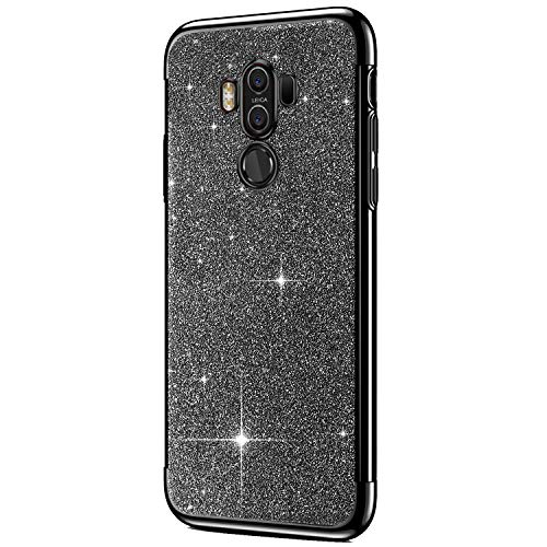 Price comparison product image ikasus Case for Huawei Mate 10 Pro Case Girls Sparkly Shiny Glitter Bling Powder Diamond Paillette Card & Plating Bumper Slim Flexible Soft Rubber Gel TPU Case Cover for Huawei Mate 10 Pro, Black