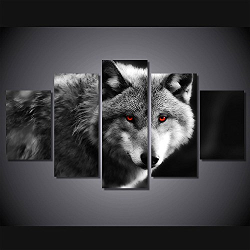 Berdecia Brave Gray Wolf With Red Eyes Canvas Wall Art Grey