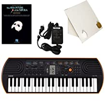 Casio SA-76 44 Key Mini Keyboard Deluxe Bundle Includes Bonus Casio AC Adapter, Desktop Music Stand & The Phantom of The Opera Beginning Piano Solo Songbook