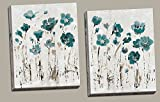 Beautiful Teal and Brown Watercolor-Style Floral Print Set; Two 22x28in Canvases