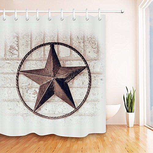 LB Vintage Texas Star Rustic Painted Brick Wall Shower Curtain Set, American West Theme Bathroom Decor, 59 W x 70 L Shower Curtain Waterproof