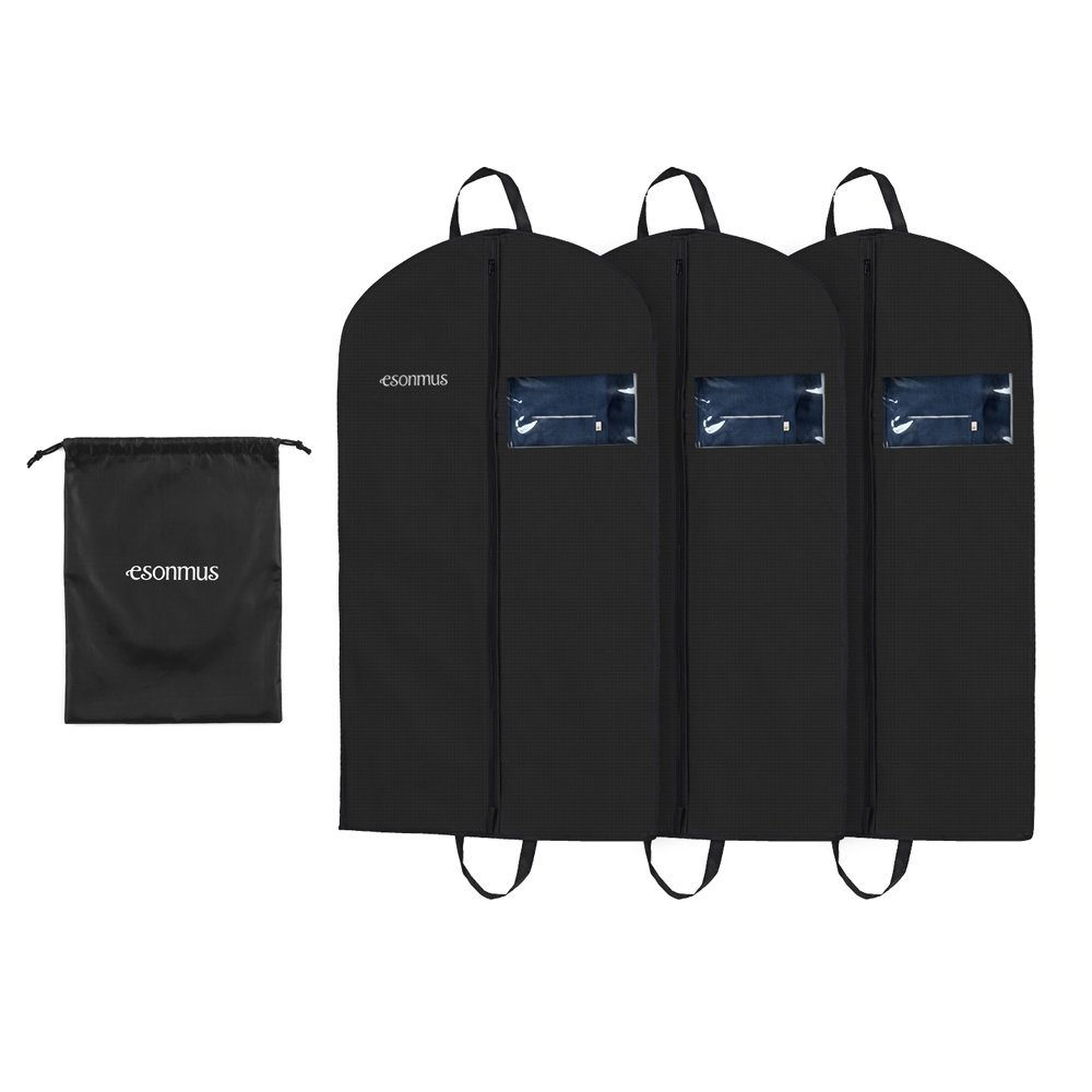 Suit Cover Garment Bags Esonmus Garment Covers 3pcs 106x60cm Non-Woven PVC Window Hanging Garment Clothes Bags Dustproof Moistureproof Mothproof Dress Suit Covers with Shoe Bag for Closet Travel