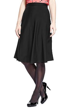 Marks & Spencer Collection a-line de raso negro con forro falda ...