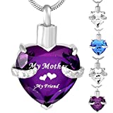 Foreverlove Mother Heart Cremation Jewelry Urn Necklace for Ashes Memorial Keepsake Pendant