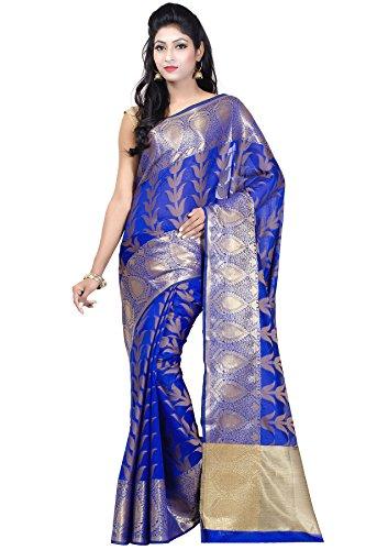 (Chandrakala Women's Blue Banarasi Silk Banarasi Saree,Free Size (1173BLU))