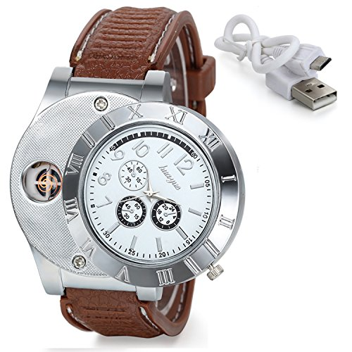 Avaner 2-in-1 Mens Novelty Military Analog Quartz Wrist Watch Rubber Strap with USB Rechargeable Windproof Cigarette Lighter