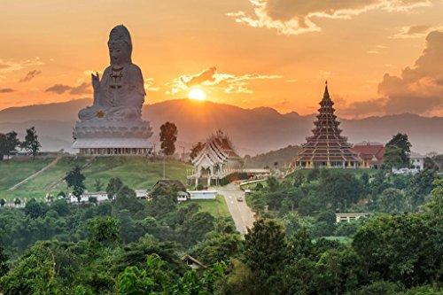 (Wat Huai Pla Kung Temple at Sunset Chiang Rai Thailand Asia Photo Art Print Mural Giant Poster 54x36 inch)