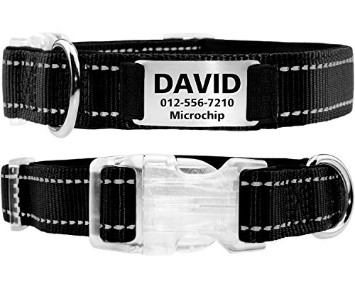 Personalized Dog Collar with Engraved Slide on ID Tags, Custom Reflective Padded Dog Collars with Silent On Collar Tags, Stainless Steel Nameplate for Small Medium Large Boys & Girls,Black