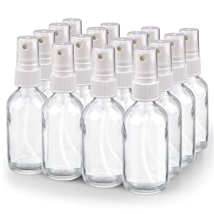 Spray Bottle, Wedama 2oz Fine Mist Glass Spray Bottle, Little Refillable Liquid Containers for Watering Flowers Cleaning(16 Pack, Clear)