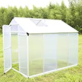 UHOM 6'x8' Outdoor Aluminum Walk In Greenhouse Garden Heavy Duty Polycarbonate Green House For Plant with Window