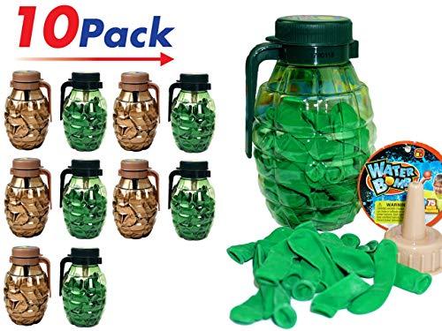 (JA-RU Water Balloons Grenade (Pack of 10) 75 Bombs Each and Hose Filler.   Item 182-10)