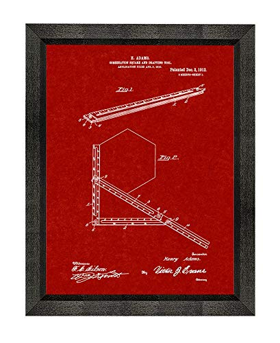 Burgundy Red Art Print - Combination Square and Drafting-Tool Patent Art Burgundy Red Print in a Beveled Black Wood Frame (5