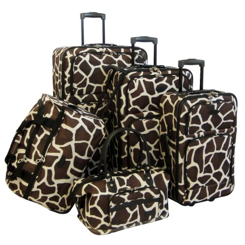 Price comparison product image American Flyer Luggage Animal Print 5 Piece Set,  Giraffe Brown,  One Size