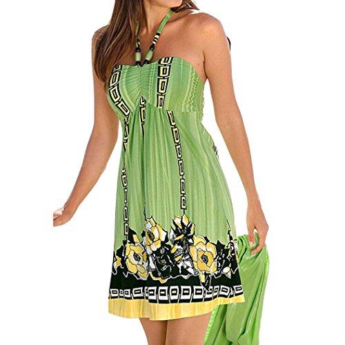 Sumen Women Boho Floral Printed Sleeveless Dress Short Mini Dress (Green, S)
