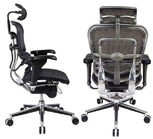 Amazon.com: Ergohuman High Back Swivel Chair With Headrest, Black Mesh U0026  Chrome Base: Kitchen U0026 Dining