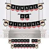 Big Dot of Happiness Beware of Pirates - Pirate Themed Party Bunting Banner - Birthday Party Decorations