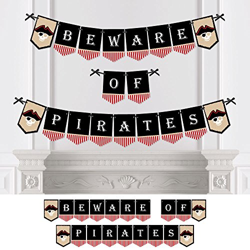 - Beware of Pirates - Pirate Themed Party Bunting Banner - Birthday Party Decorations