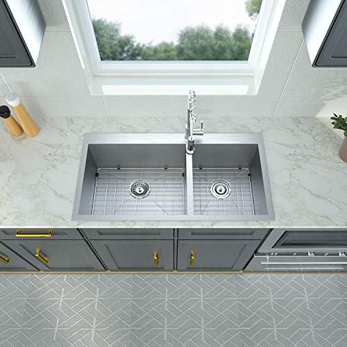 32 Kitchen Sink Drop In Double Bowl – Logmey 32×18 Kitchen Sink Double Bowl Topmount Drop In 18 Gauge Stainless Steel Double Bowl 60 40 Drop Kitchen Sink