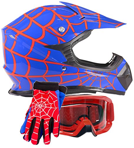 Youth Kids Offroad Gear Combo Helmet Gloves Goggles DOT Motocross ATV Dirt...