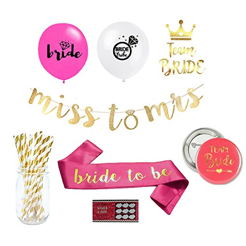 Bachelorette Party or Bridal Shower Decorations Kit: Supplies include Bride to be Sash, Miss to Mrs. Gold Banner, Balloons, Bride Tribe Tattoos and Dare Card Game