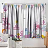 All of better Kids Birthday Window Curtain Drape Baby Girl Birthday Celebration Party with Flags and Bears Cute Toys Print Decorative Curtains for Living Room 72' W x 84' L Pale Pink